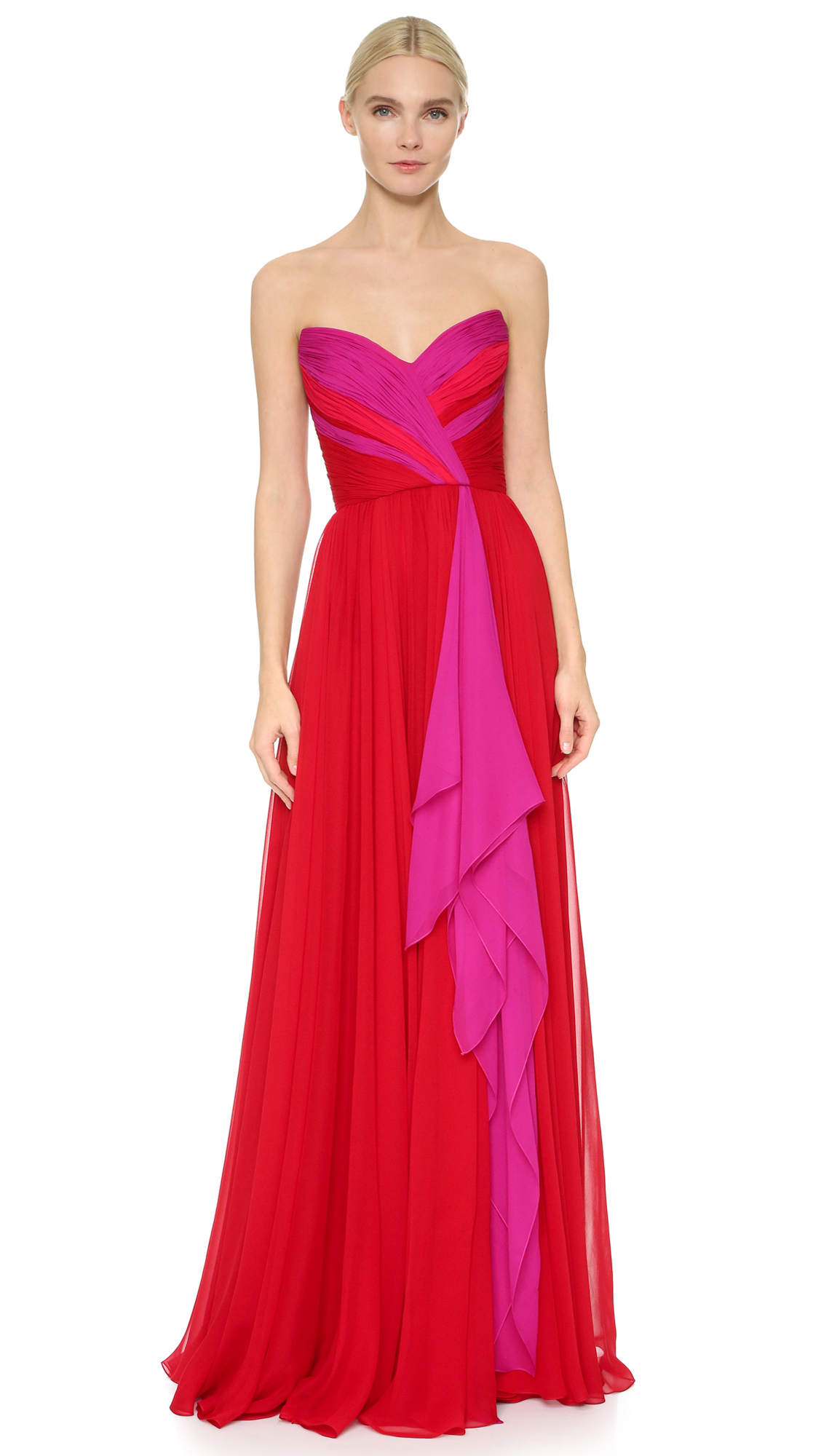Lyst - Reem Acra Strapless Chiffon Gown in Pink