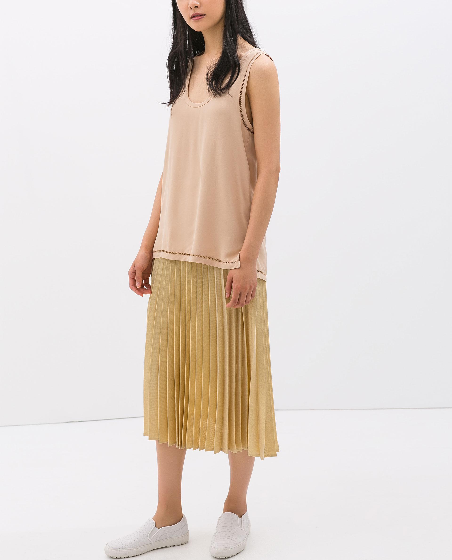 Zara Gold Pleated Skirt in Metallic | Lyst