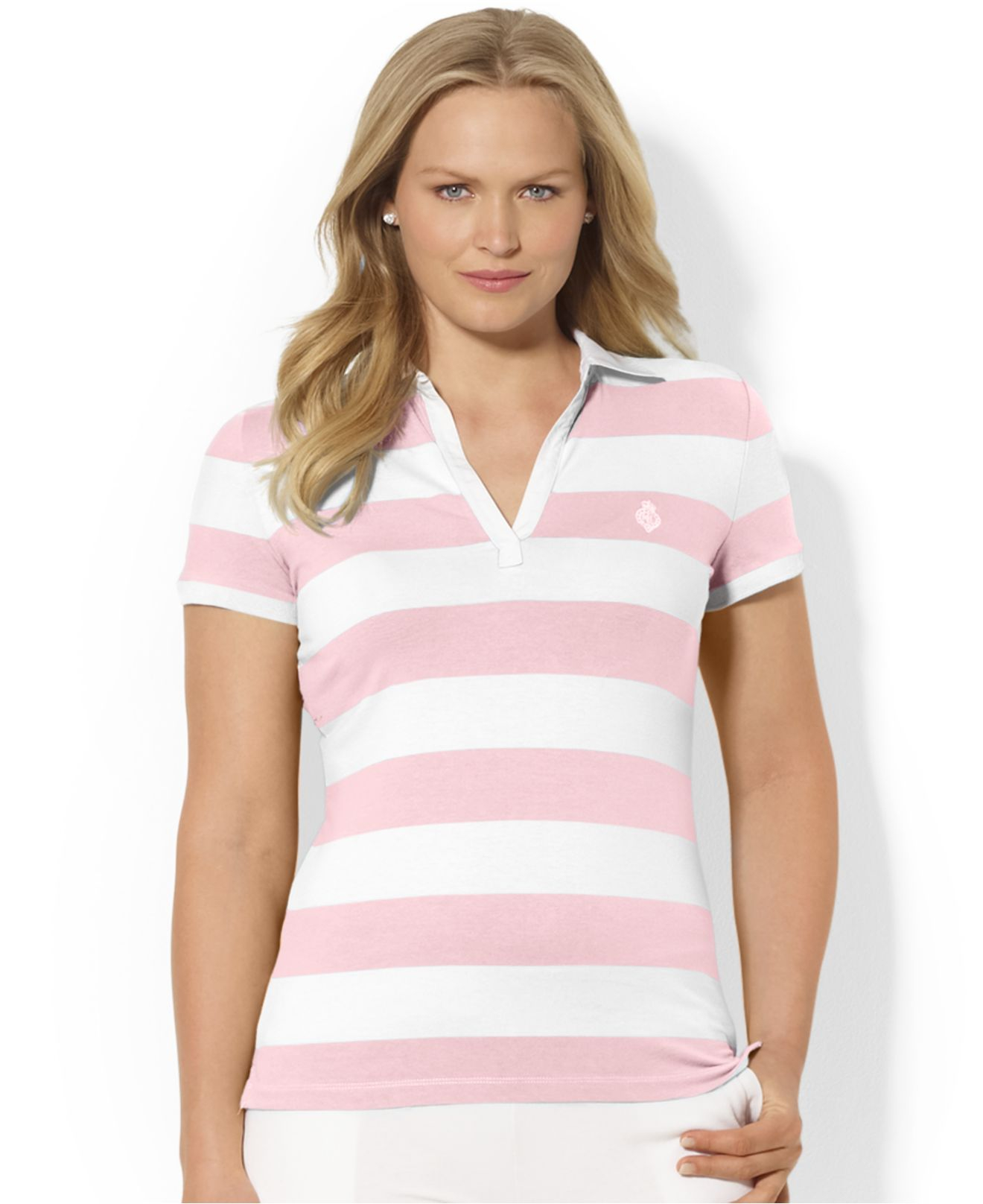 Lauren Ralph Lauren Väskor : Lyst lauren by ralph plus size striped polo shirt