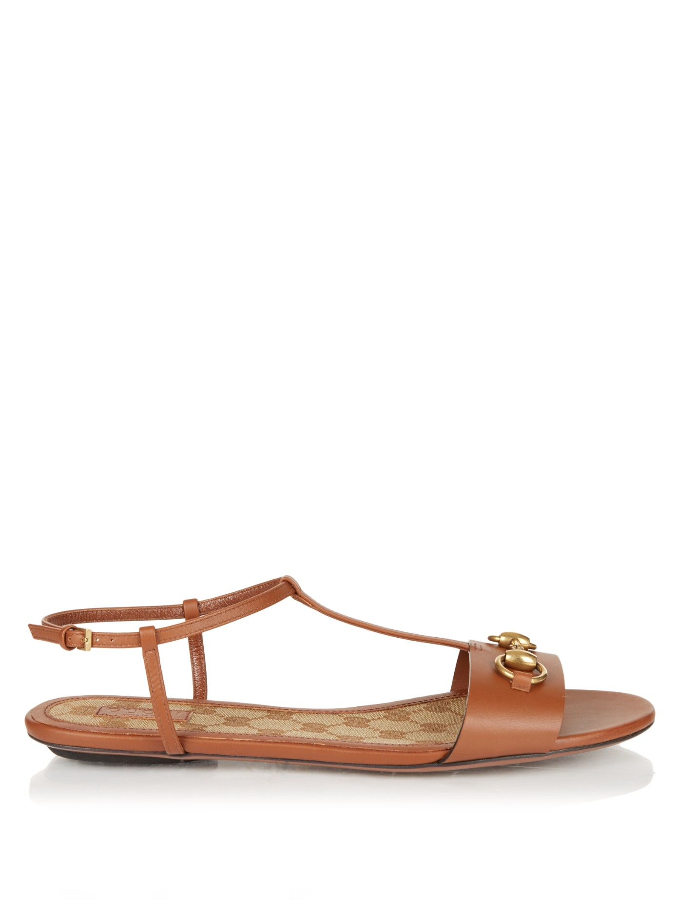 4f3fe7828 Lyst - Gucci Leather T-strap Sandal in Brown