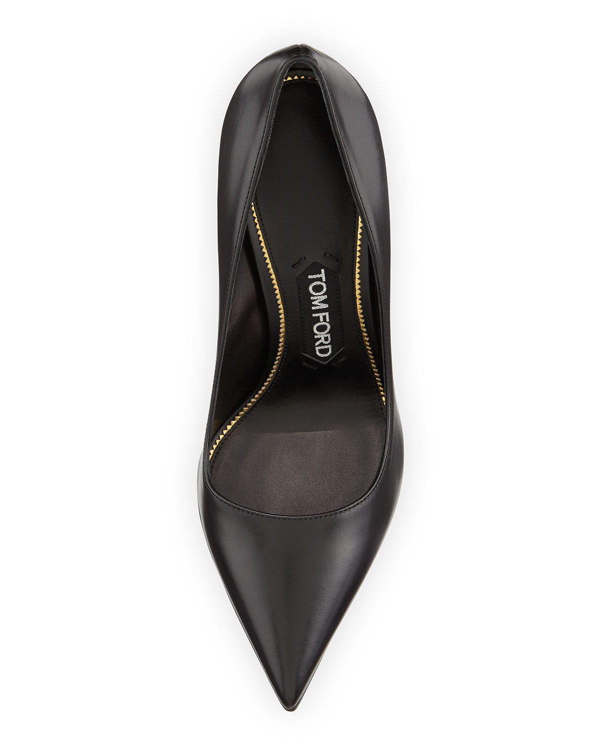 c4f4dab882 Tom Ford Golden Pin-Heeled Leather Pumps in Black - Lyst