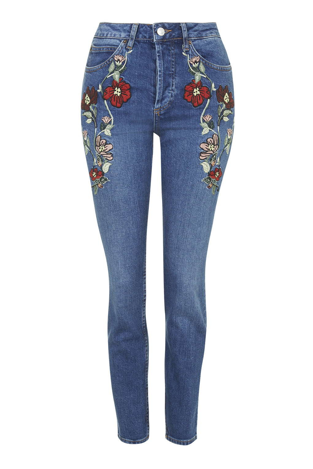 Lyst topshop moto embroidered straight jeans in blue