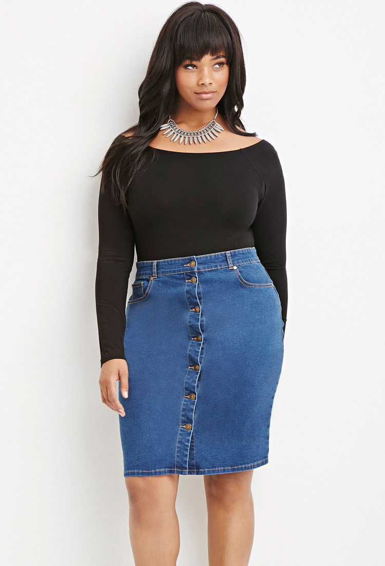 af6fa9b10d61 Forever 21 Plus Size Button-front Denim Skirt in Blue - Lyst