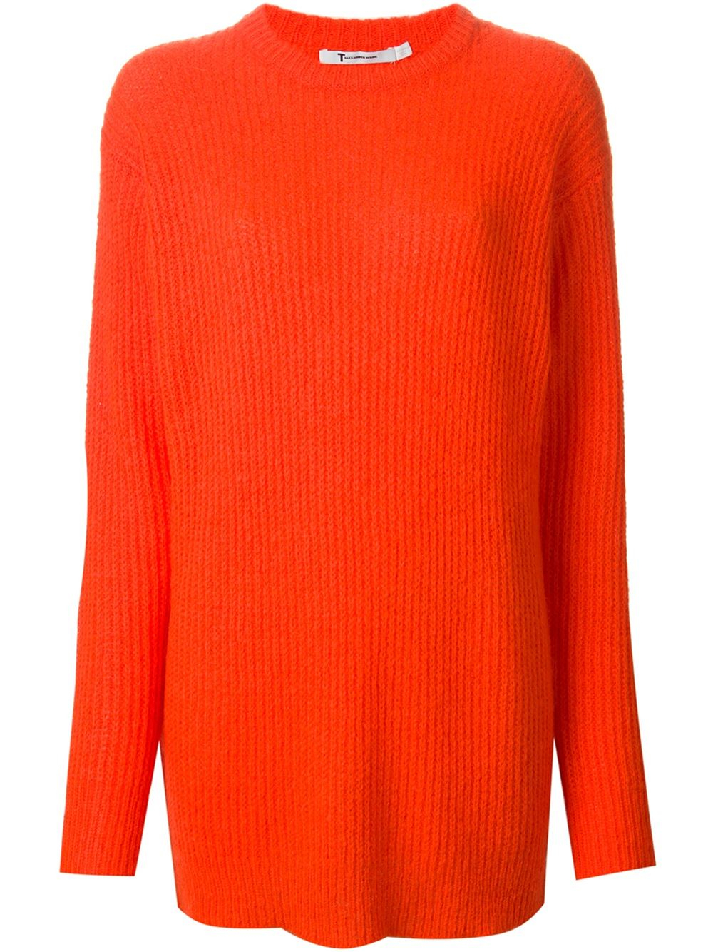 T by alexander wang Ribbed-knit Long Sweater in Red | Lyst