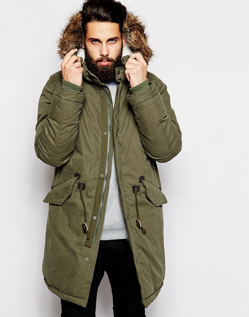 Asos Fishtail Parka With Thinsulate in Green for Men | Lyst