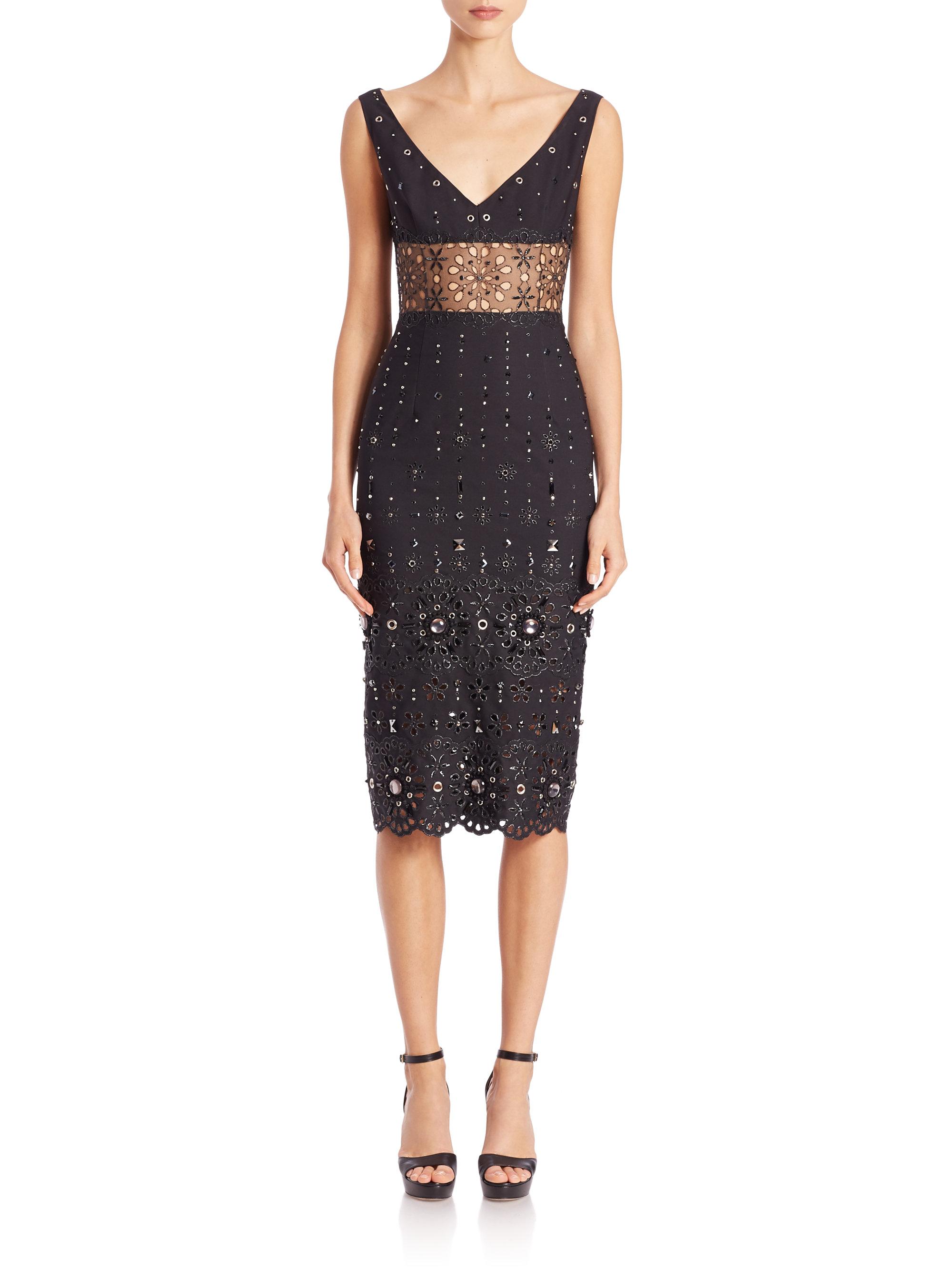 Lyst Marc Jacobs Embellished Organza Sheath Dress In Black