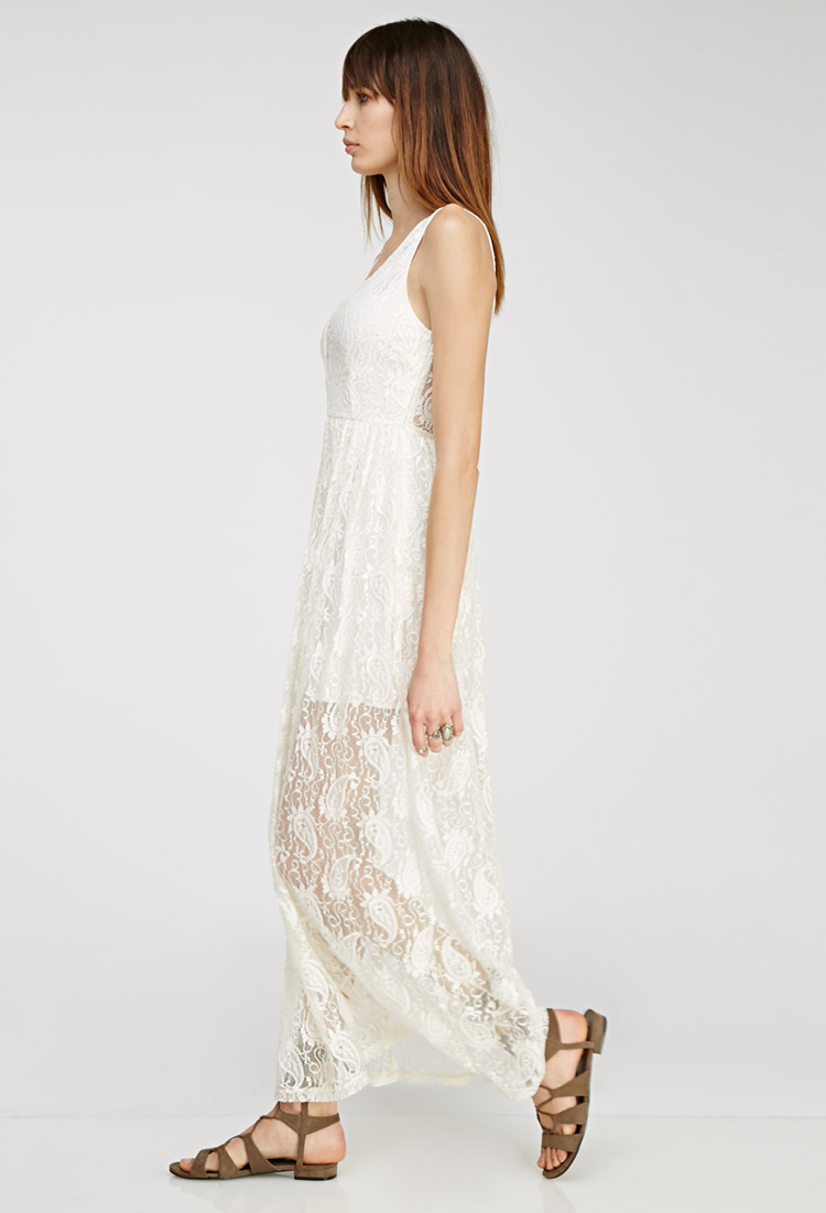 Forever 21 Floral Lace Maxi Dress in White | Lyst