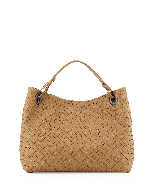 bottega veneta medium intrecciato shoulder bag in brown lyst