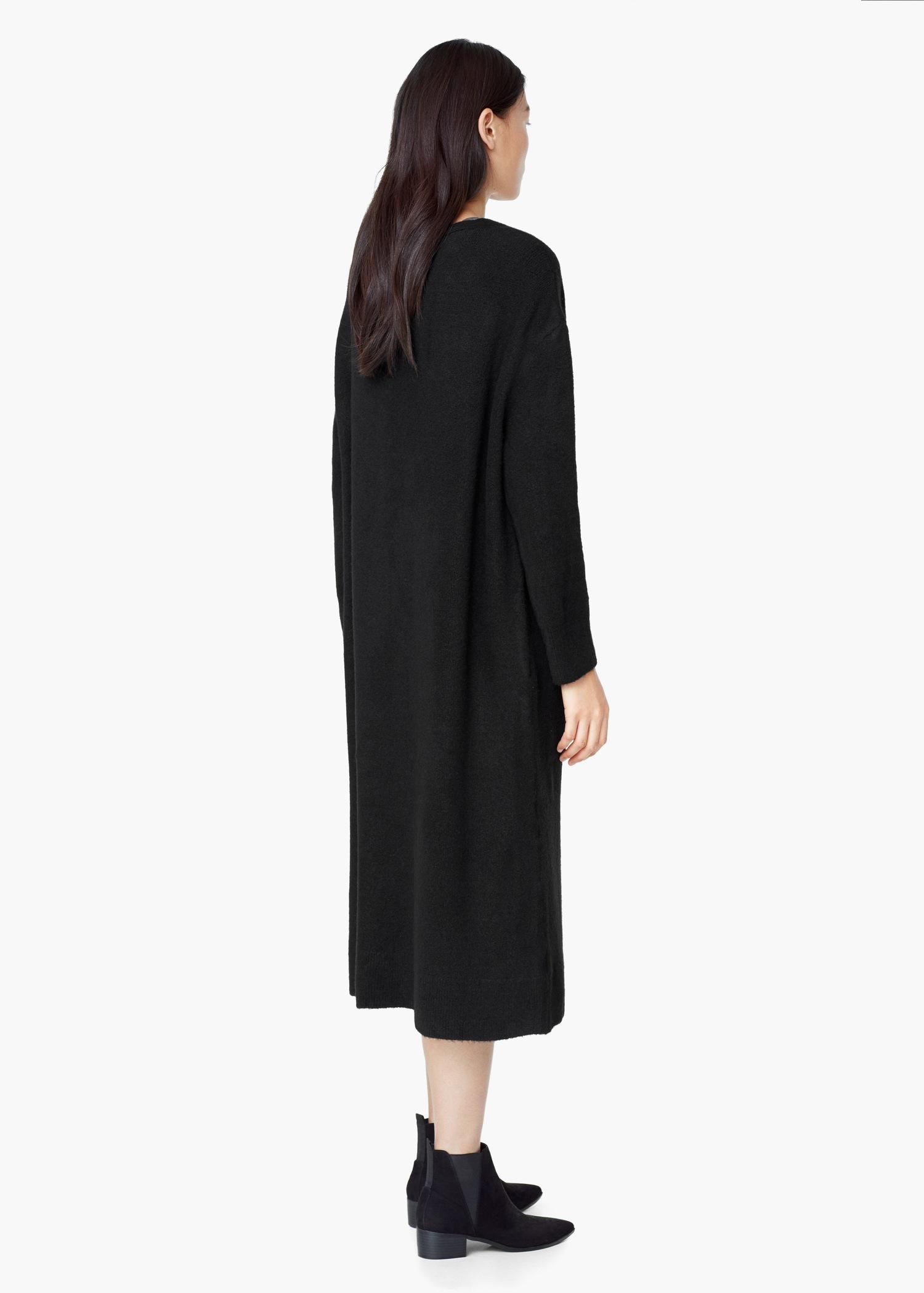 Mango Pocket Long Cardigan in Black | Lyst