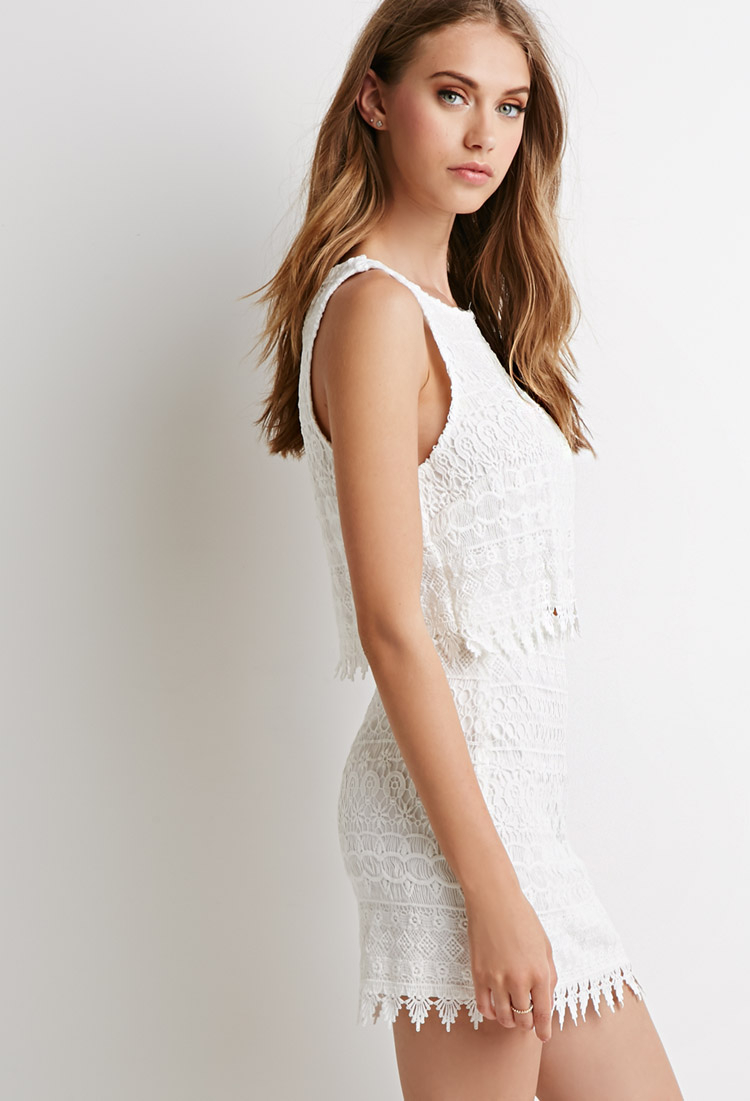 Forever 21 Ornate Lace Crop Top And Skirt Set In White Lyst