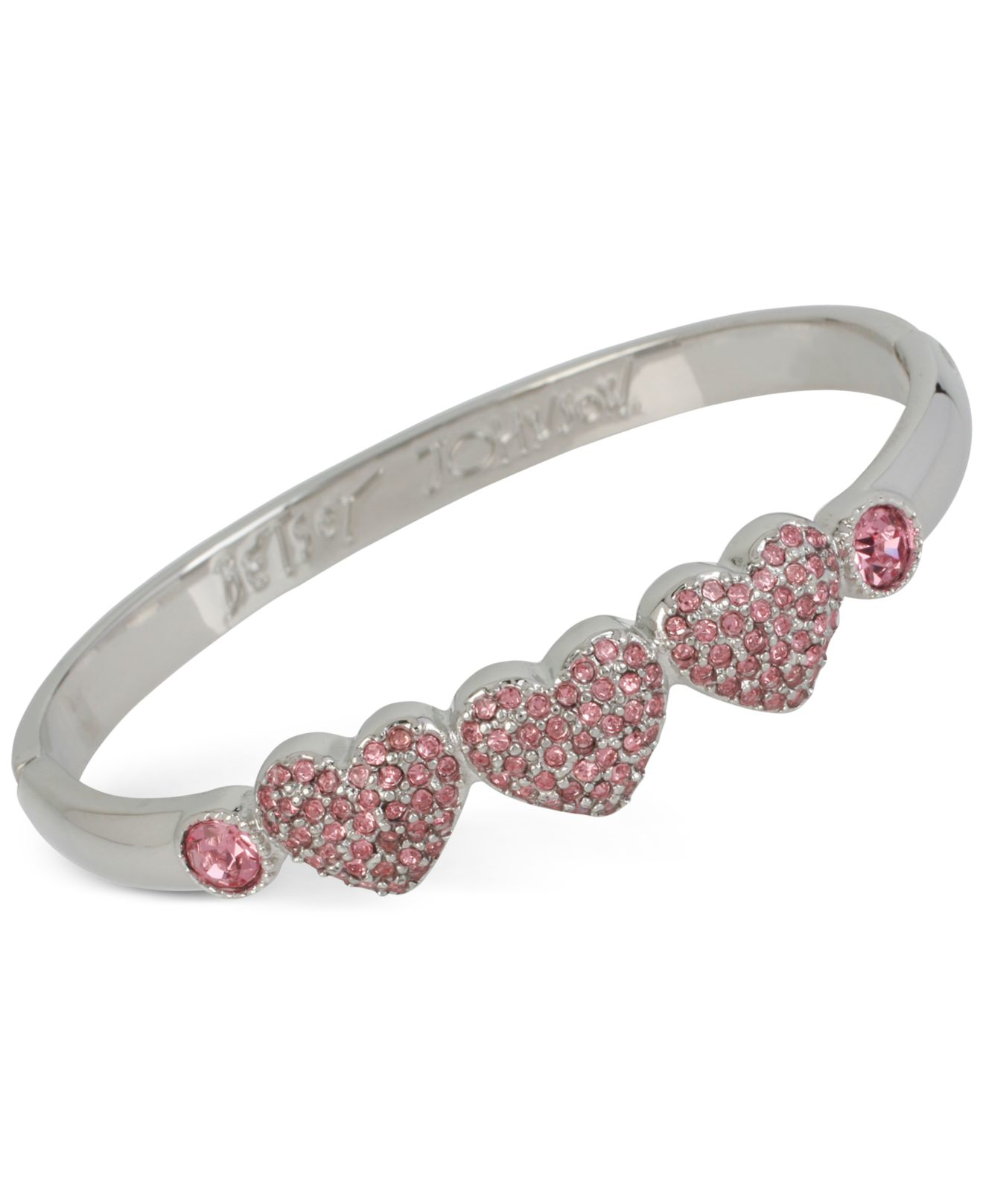 b2fb508d4429d Lyst - Betsey Johnson Silver-tone Crystal Heart And Stone Bangle ...