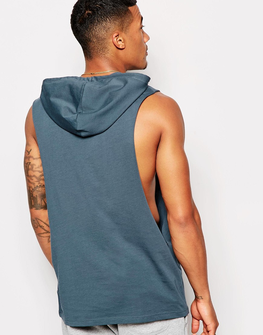 9e555bf236dc9 Lyst - ASOS Sleeveless T-shirt With Extreme Dropped Armhole And Hood in  Blue for Men