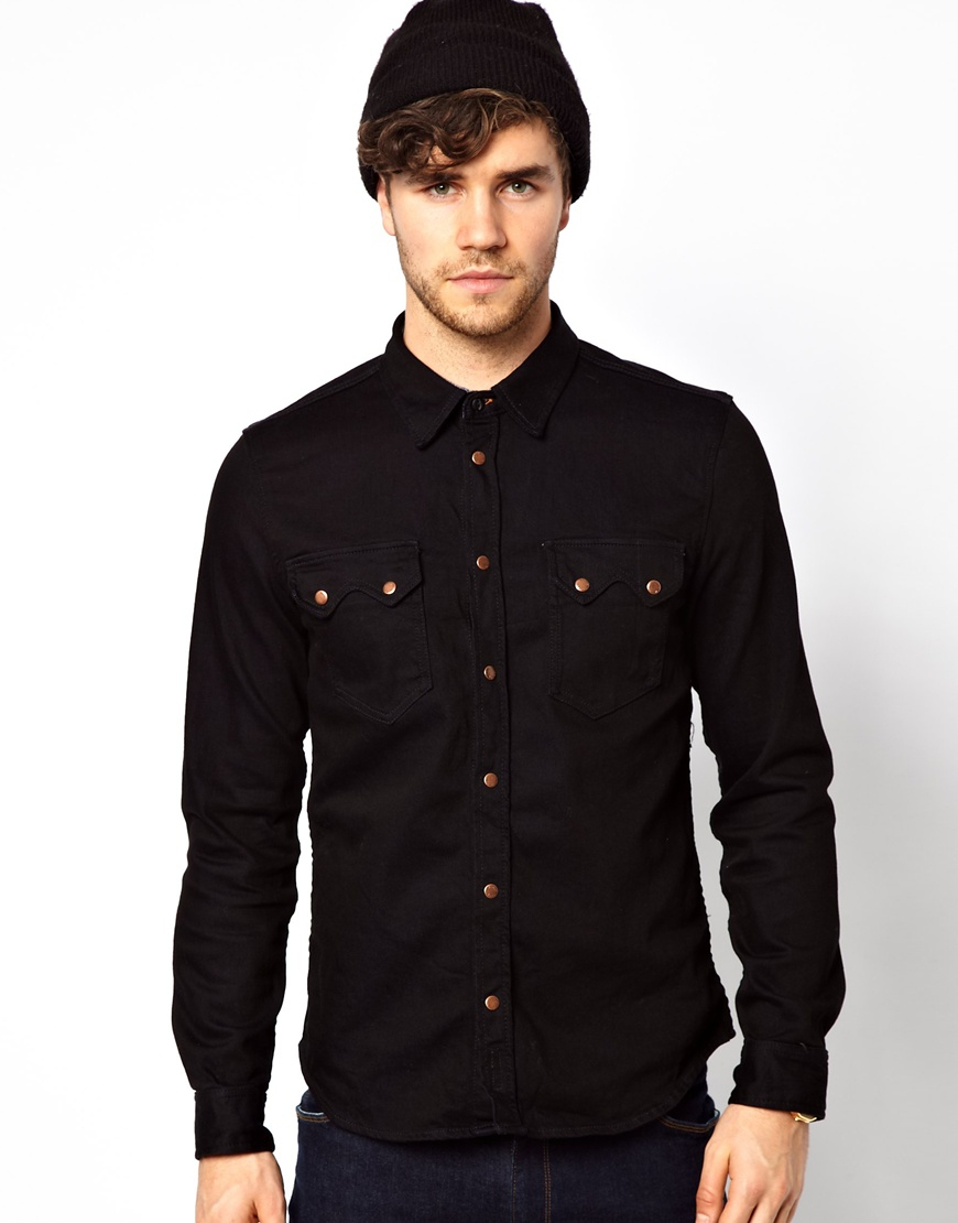ASOS DESIGN Tall stretch slim denim shirt in black. £ Lee Button Down Denim Shirt Black. £ ASOS DESIGN stretch slim denim shirt in mid wash. £ ASOS DESIGN Stretch Slim Denim Shirt With Grandad Collar In Rinse Wash. £ Pull&Bear Rip And Repair Regular Fit Denim Shirt In Light Blue.