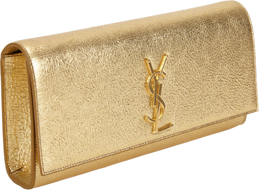 e15bf1ac17e0 Saint Laurent Ysl Cassandre Clutch in Metallic - Lyst