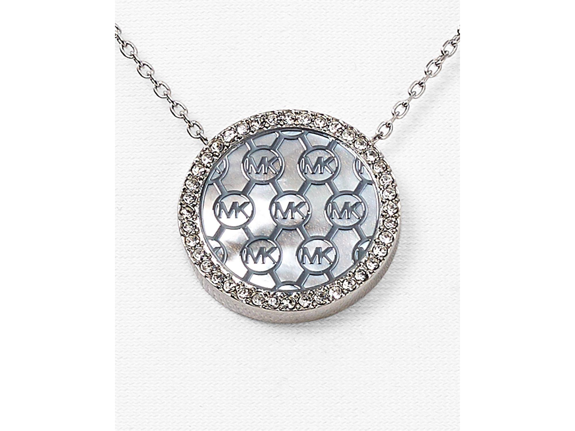 Lyst michael kors monogram pendant necklace 16 in metallic gallery aloadofball Gallery