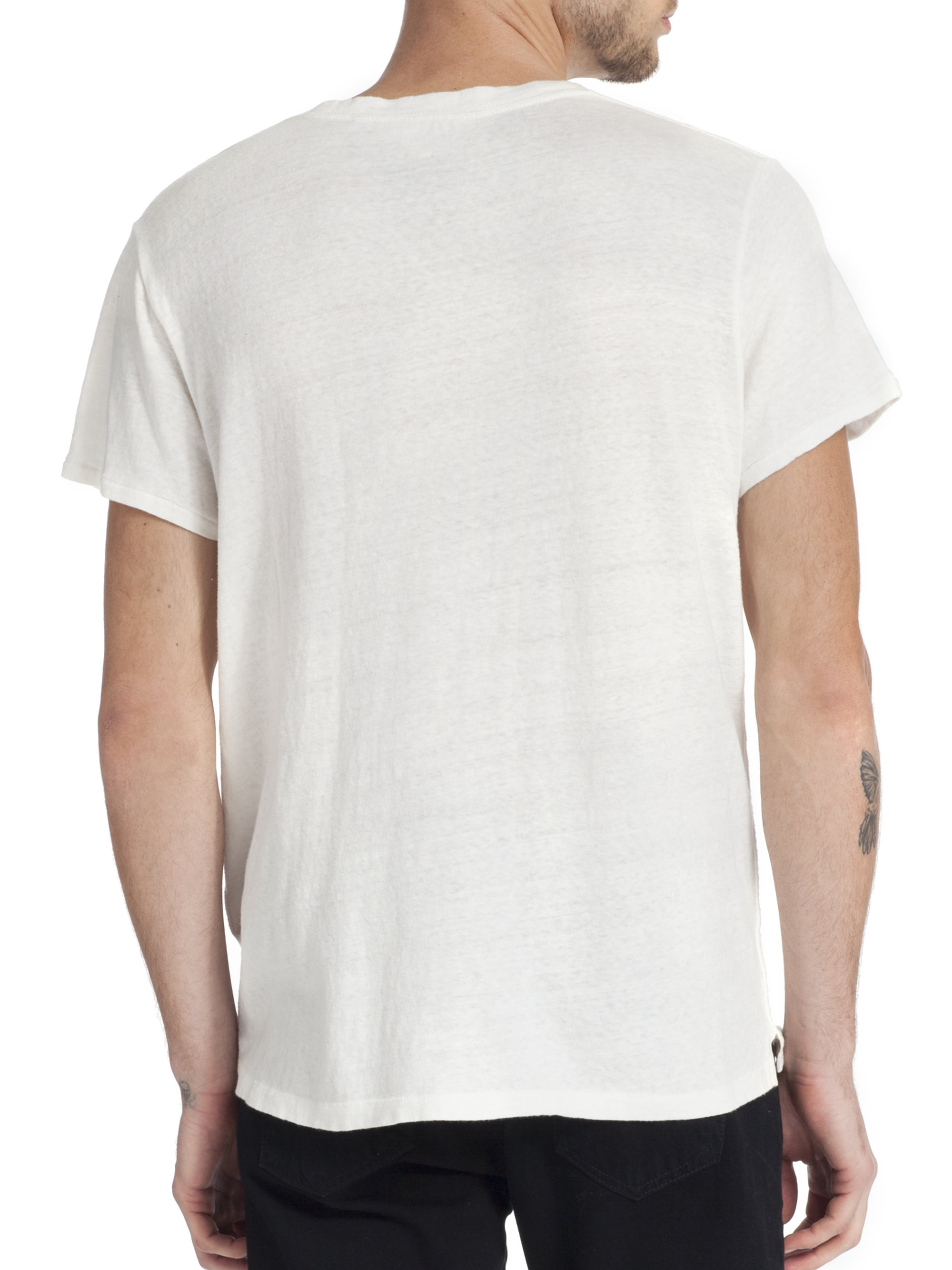 Lyst rag bone cotton logo t shirt in white for men for Rag and bone t shirts