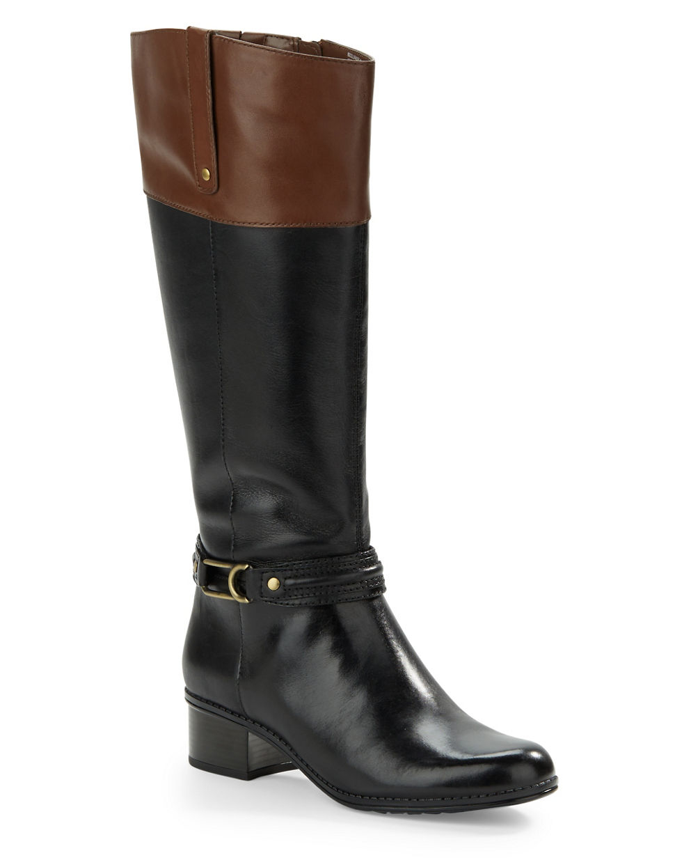 bandolino coloradee wide calf leather boots in black lyst
