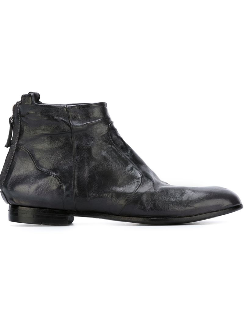 silvano sassetti distressed flat ankle boots in black