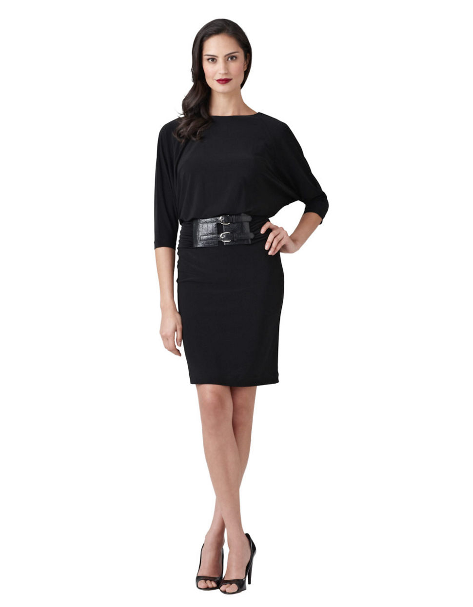 papell blouson wide belt dress in black lyst