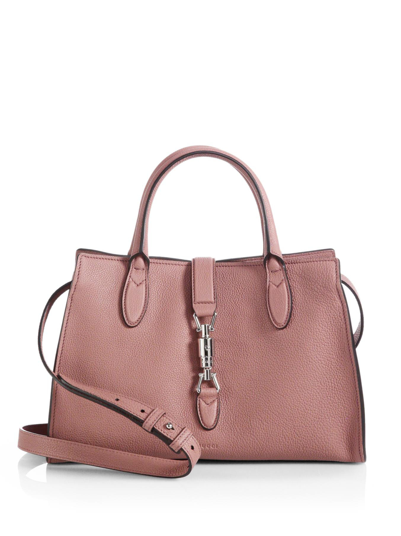 11873bd7dfa Gucci Jackie Soft Leather Top Handle Bag in Pink - Lyst