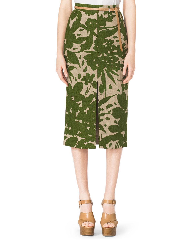 michael kors floral print linen pencil skirt in green