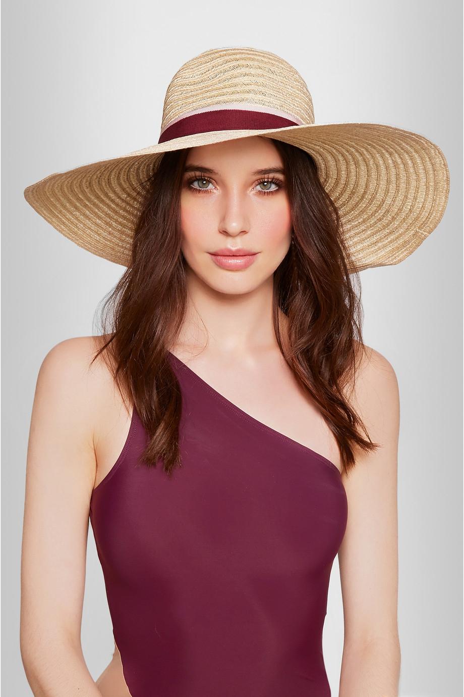 Maison michel blanche wide brim straw hat in natural lyst for Maison michel