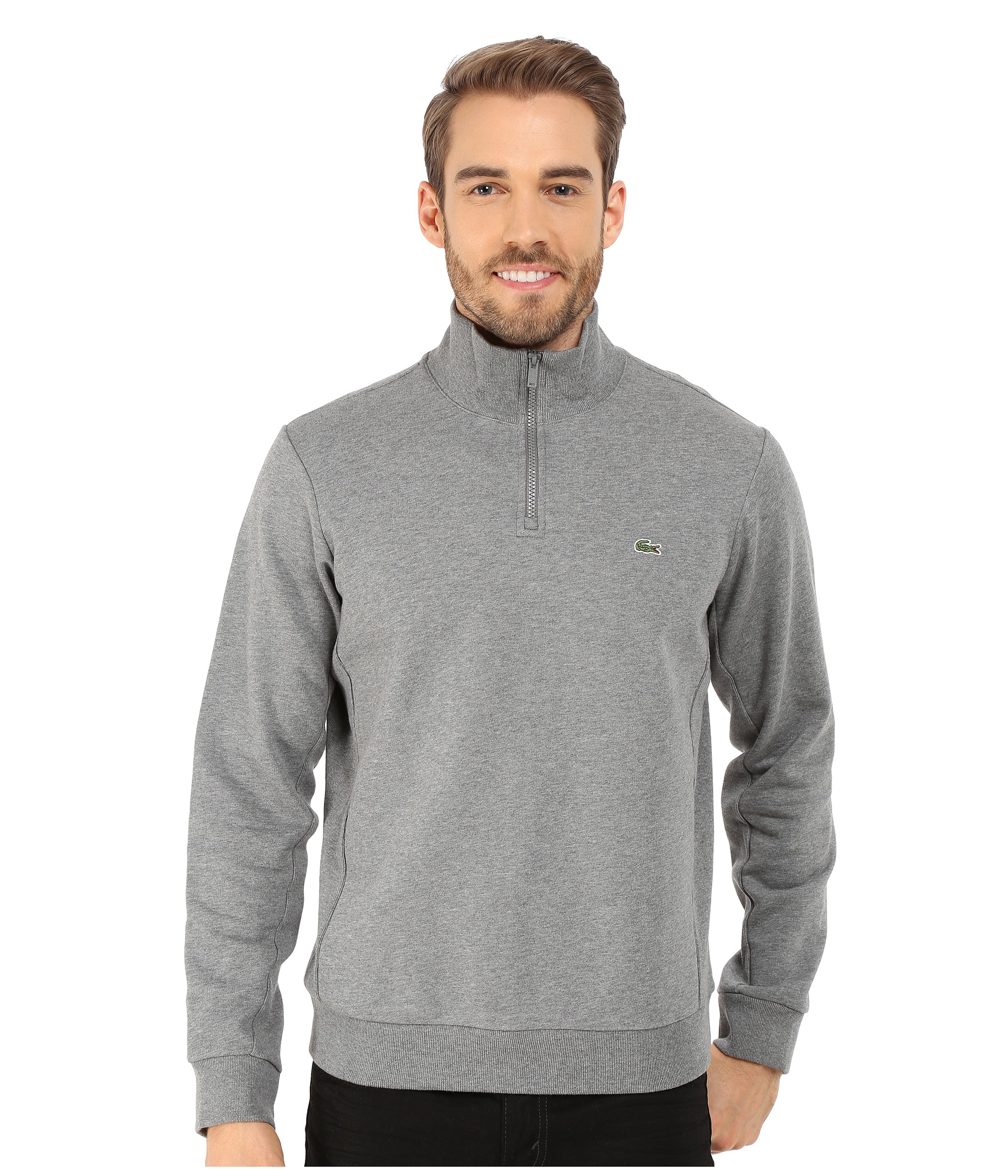 Lacoste Light Weight Fleece 1 4 Zip Sweatshirt In Gray For