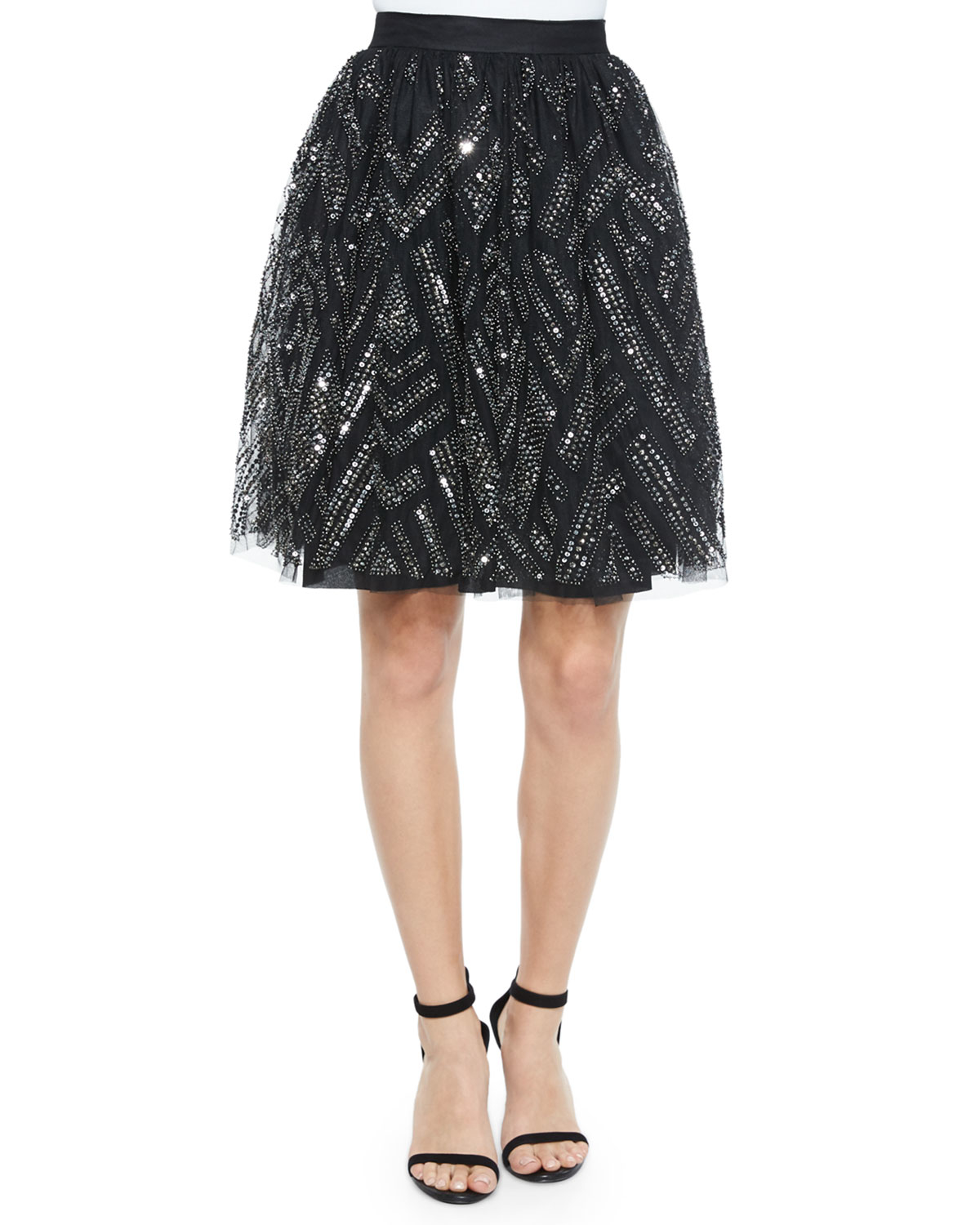 switch geometric beaded skirt in silver lyst
