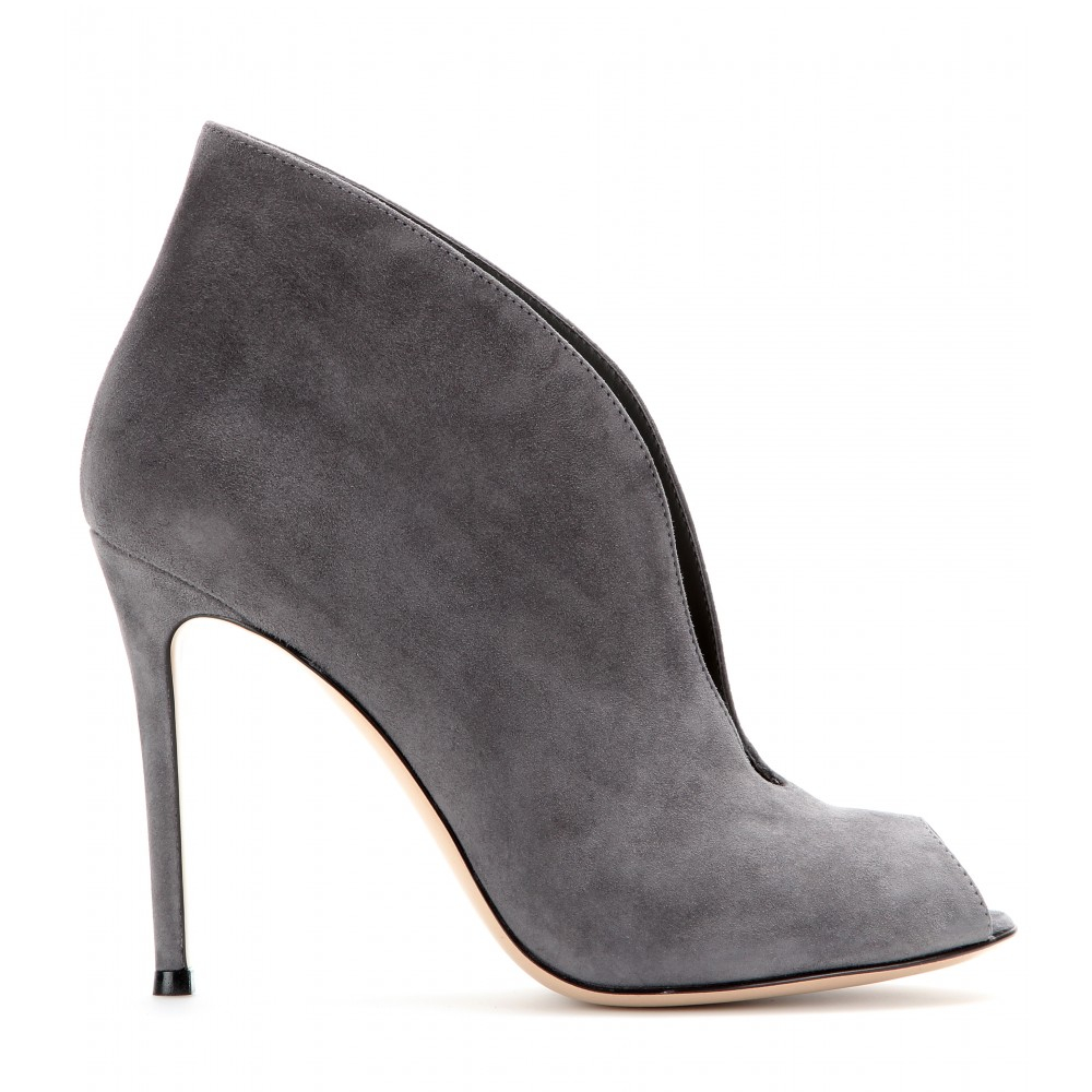 gianvito v suede peep toe ankle boots in gray lyst
