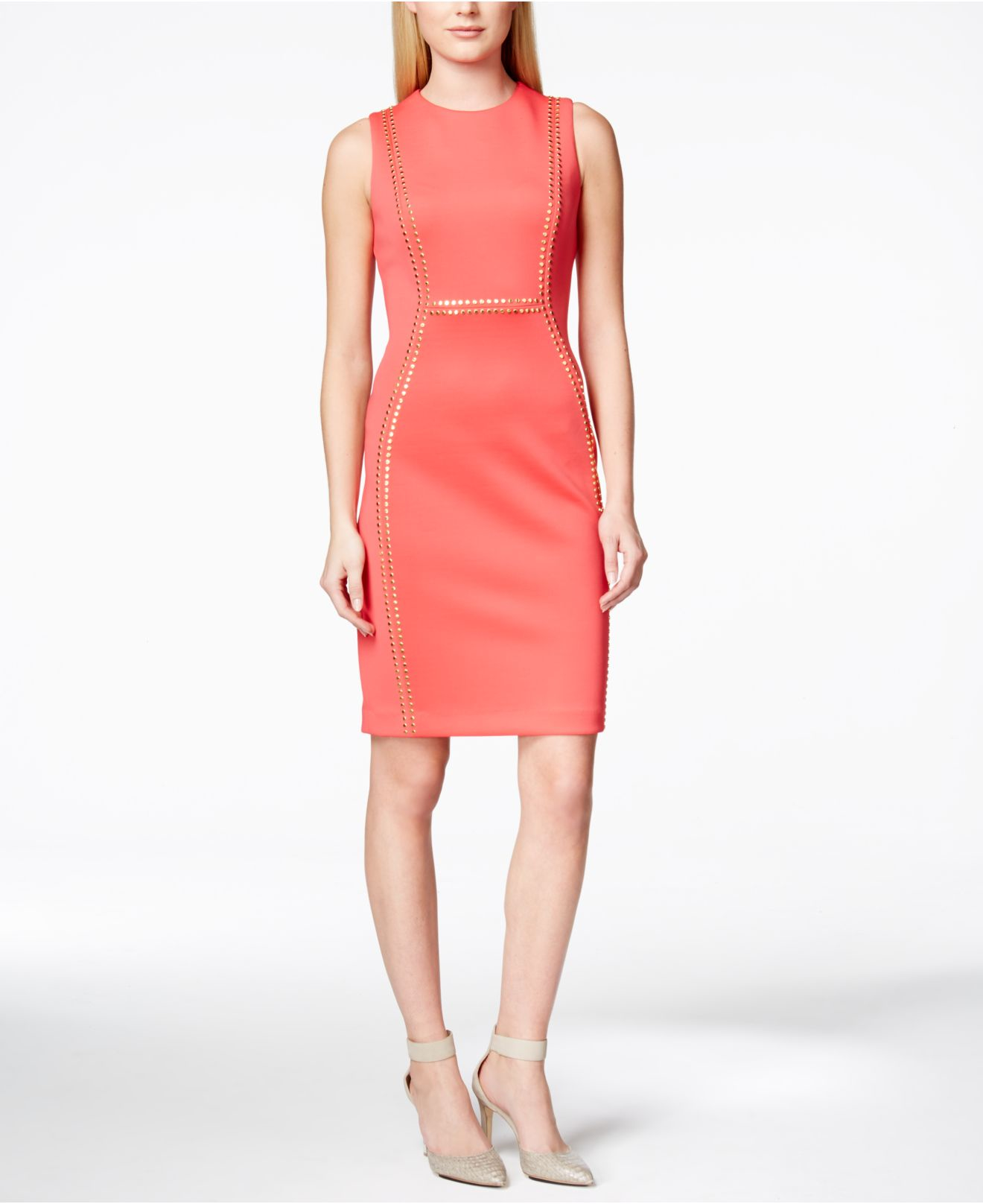 Calvin klein Embellished Scuba Sheath Dress in Pink