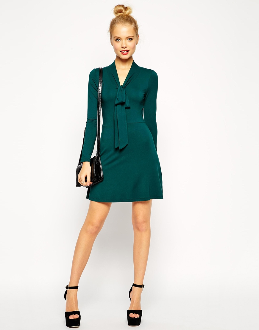 f083f470b0 Lyst - ASOS Skater Dress With Pussy Bow And Long Sleeves in Green