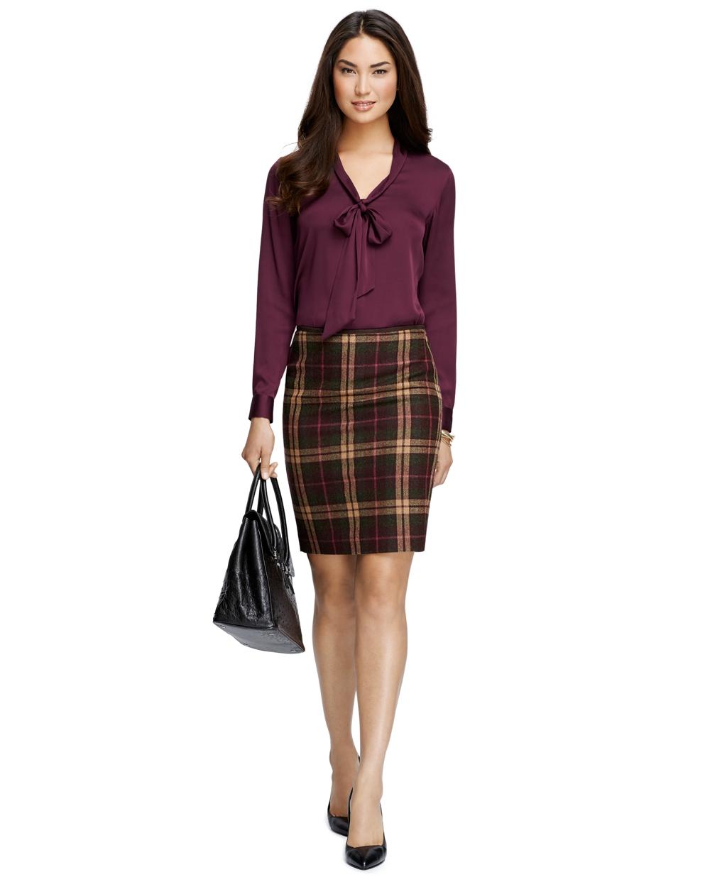 Brooks brothers Wool Plaid Pencil Skirt in Purple   Lyst
