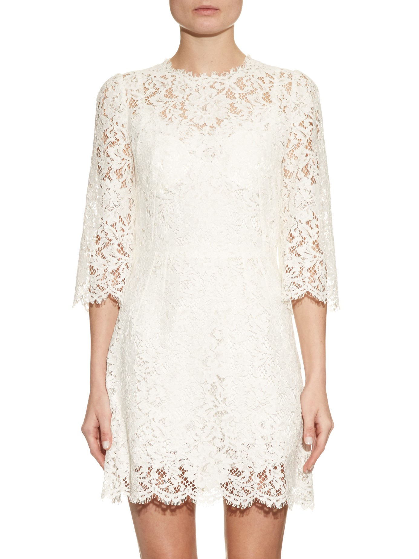07e1babe340 Dolce   Gabbana Floral-lace Scallop-trimmed Dress in White - Lyst