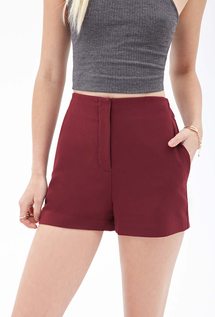 Forever 21 High-waisted Woven Shorts in Red | Lyst