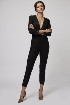 924387c25bb9 Lyst - TOPSHOP Petite All-over Lace Jumpsuit in Black