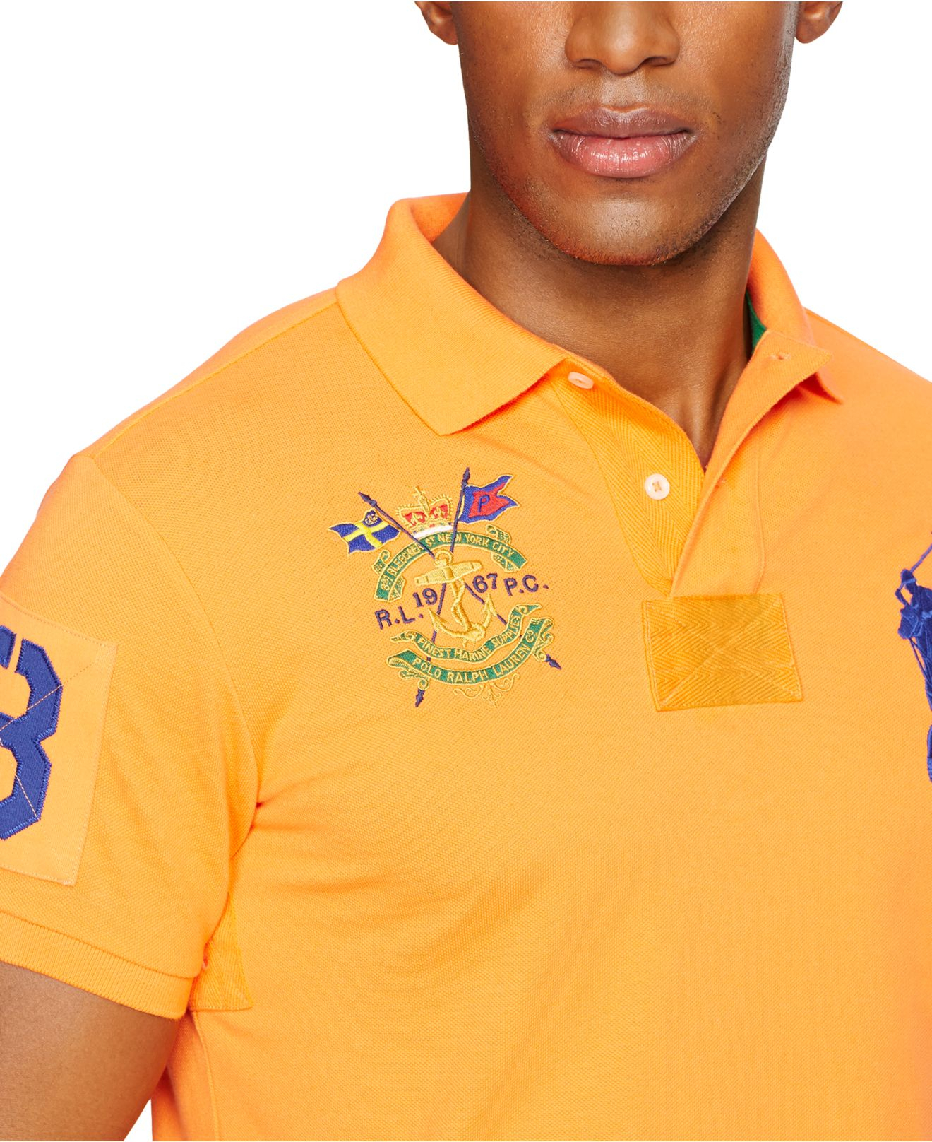 5f3e587591559 Lyst - Polo Ralph Lauren Custom-Fit Big Pony Mesh Polo Shirt in ...