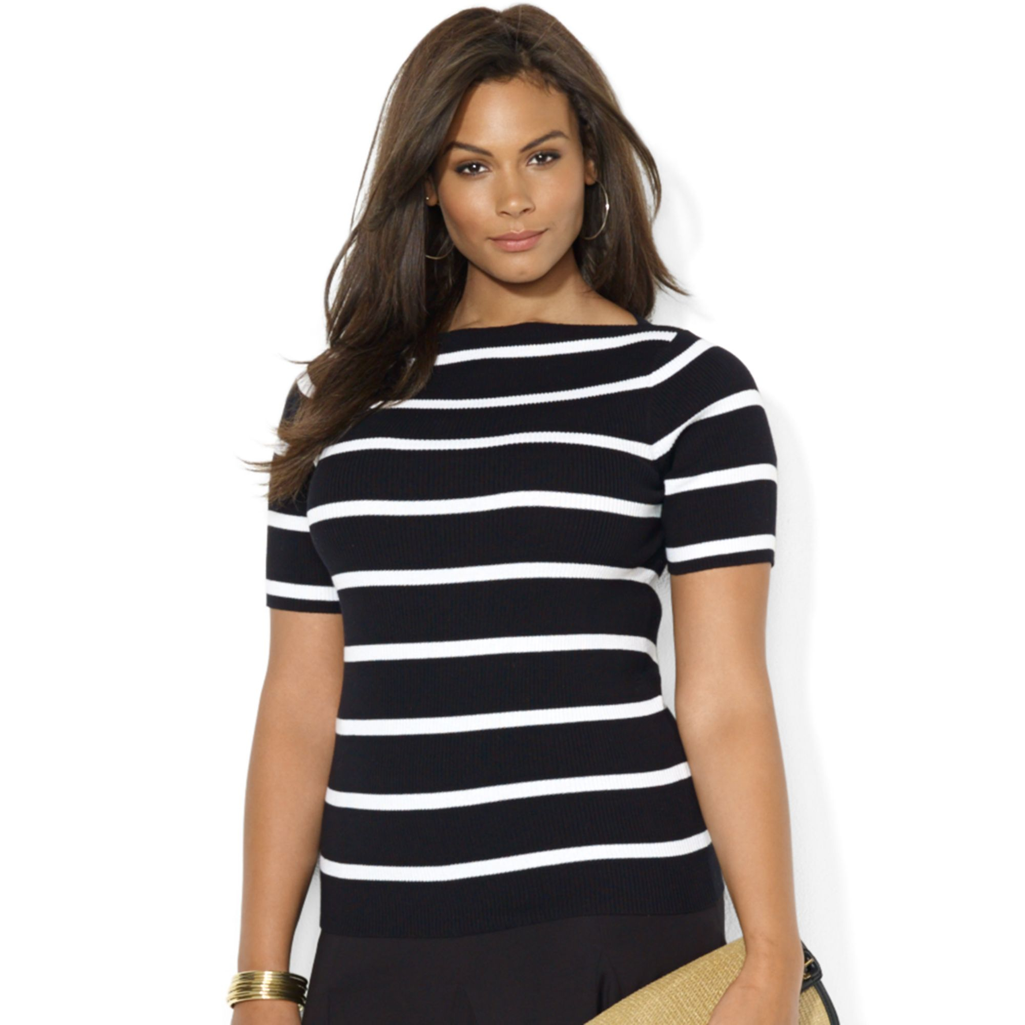 ba325a4f335 Lyst - Lauren by Ralph Lauren Plus Size Shortsleeve Striped Boatneck ...