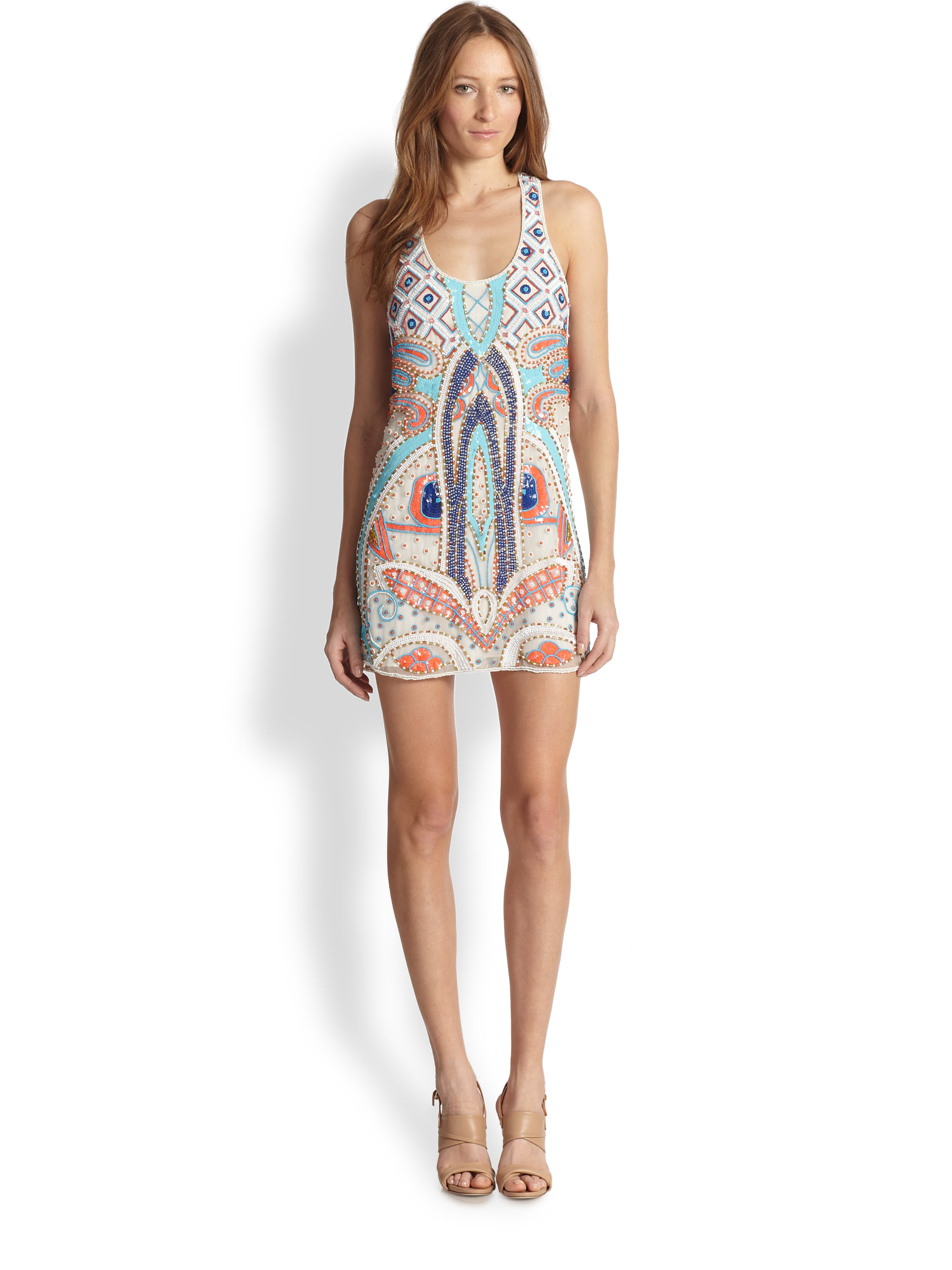 Lyst Parker Silk Woodley Beaded Dress