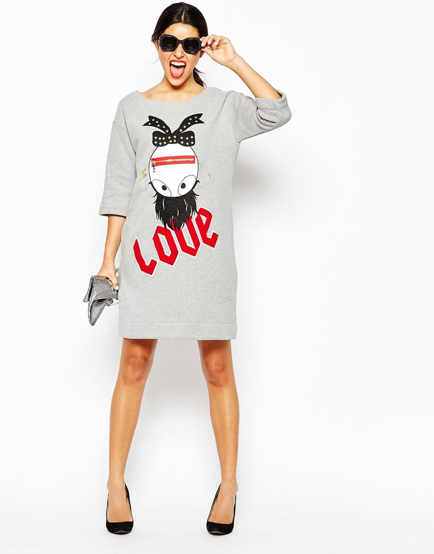 a191cce2daf9a Lyst - Love Moschino Crazy Love Dress in Gray