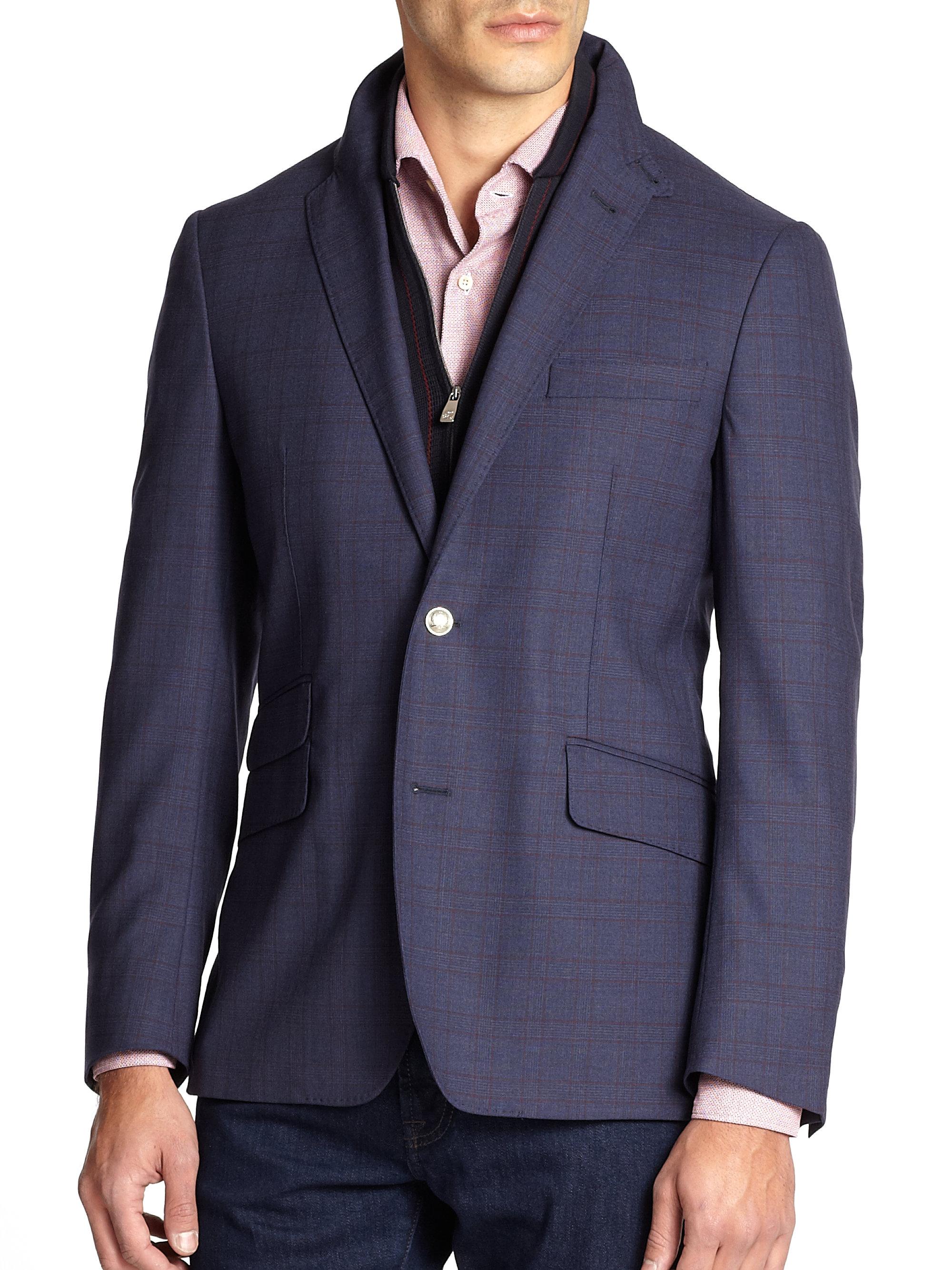 Corneliani Id Plaid Wool Zip Out Vested Sportcoat In Blue