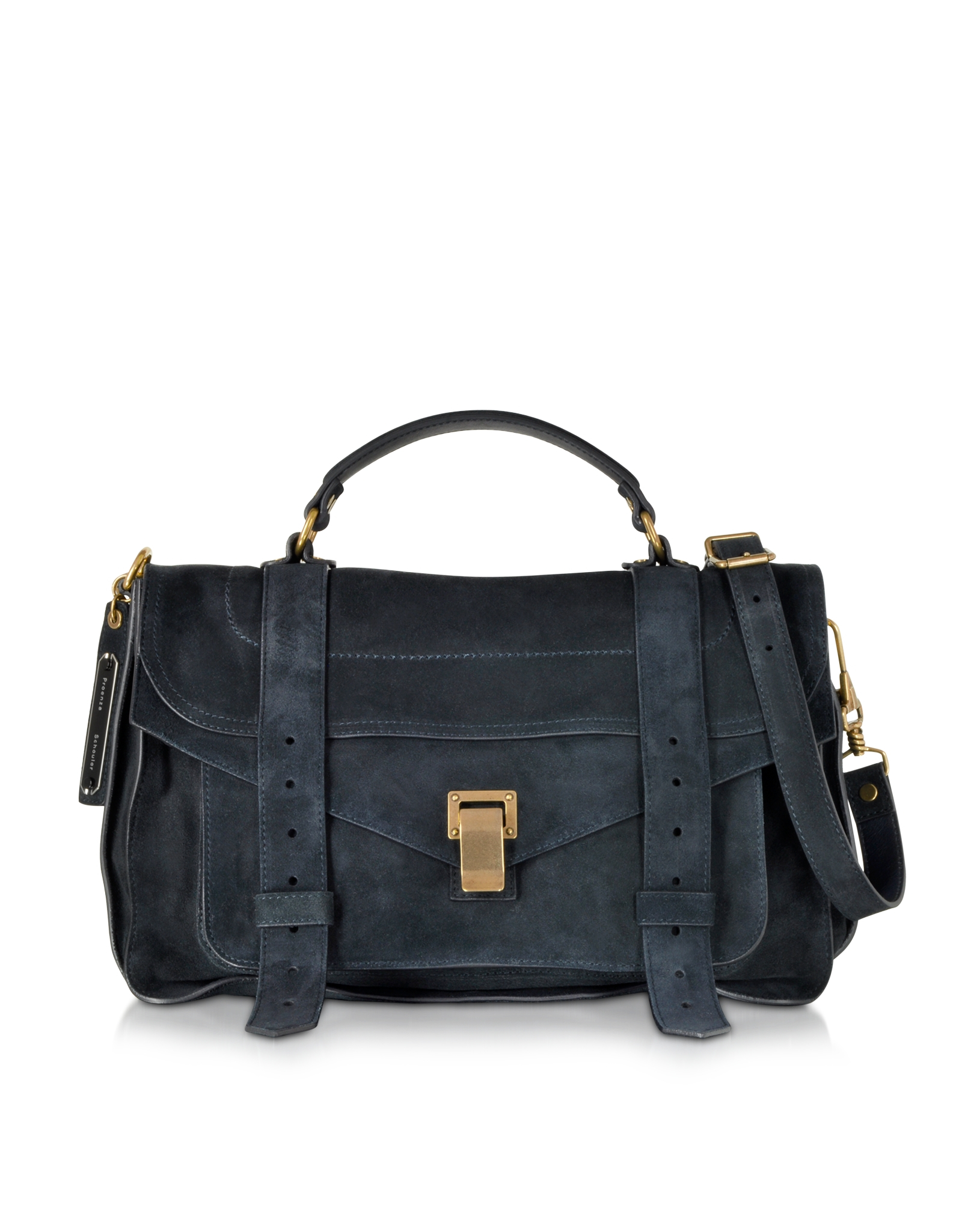 Proenza schouler Ps1 Medium Navy Suede Satchel Bag in Black | Lyst