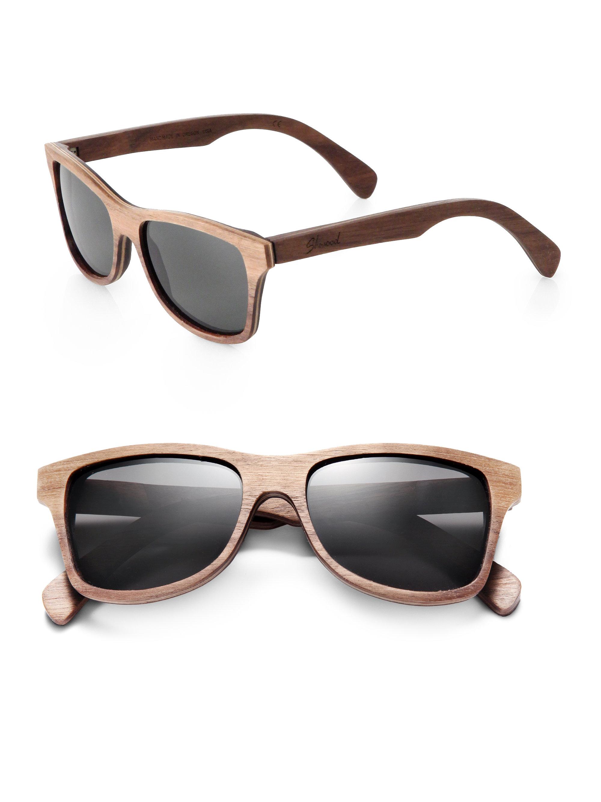 Wood Frame Wayfarer Sunglasses