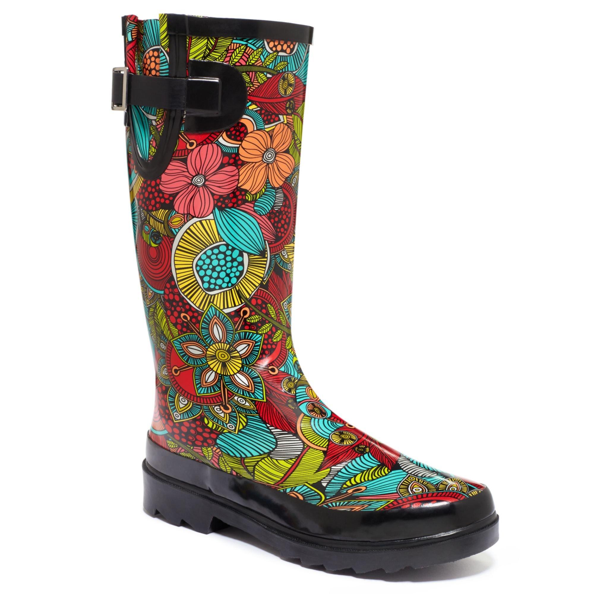 Lyst Chooka Fantasy Floral Rain Boots In Black