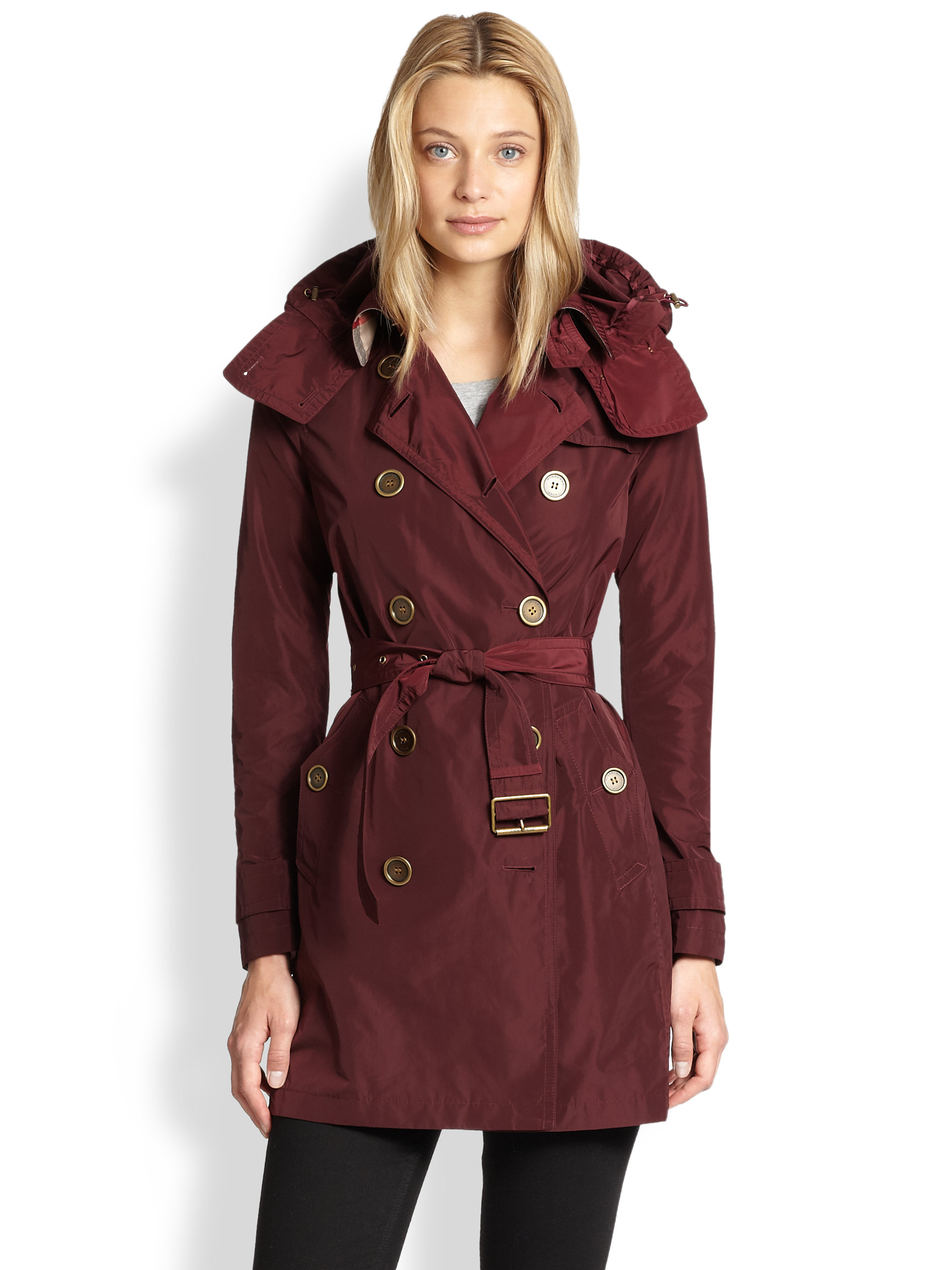 burberry brit double breasted trench coat in purple lyst. Black Bedroom Furniture Sets. Home Design Ideas