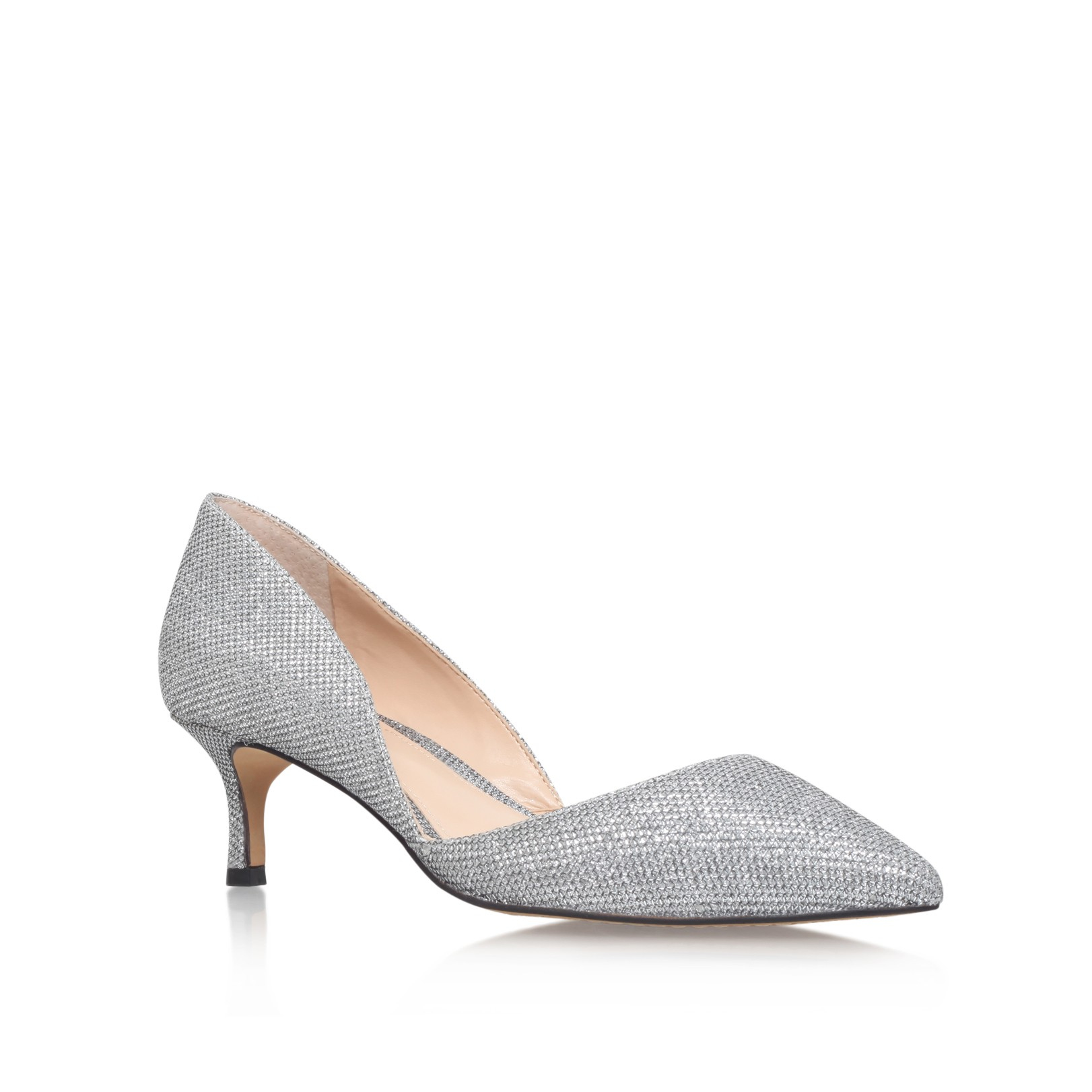 Lyst Vince Camuto Premell Low Heel Court Shoes In Metallic
