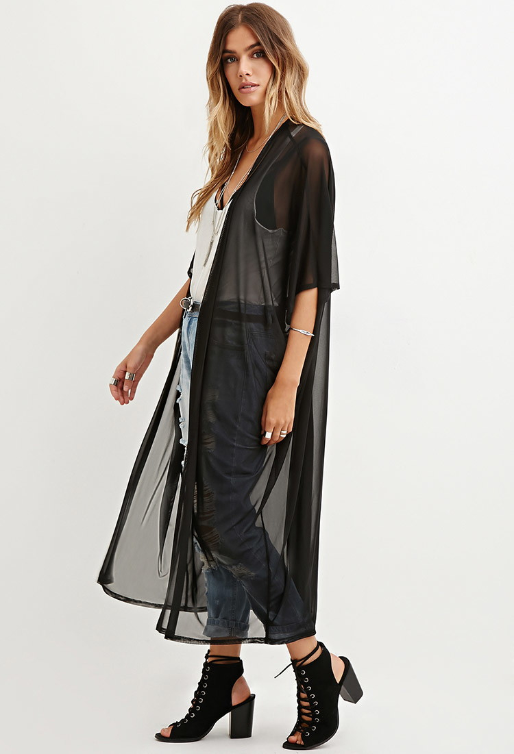 Forever 21 Sheer Mesh Dolman Cardigan in Black | Lyst