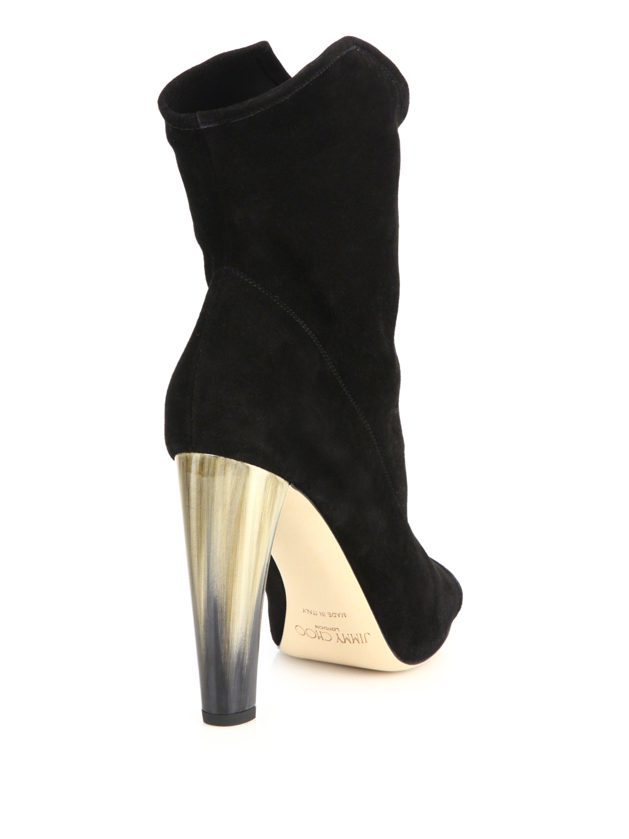 Ricky 100 Leather-trimmed Sequined Stretch-knit Sock Boots - Gunmetal Jimmy Choo London C9jmCMZ