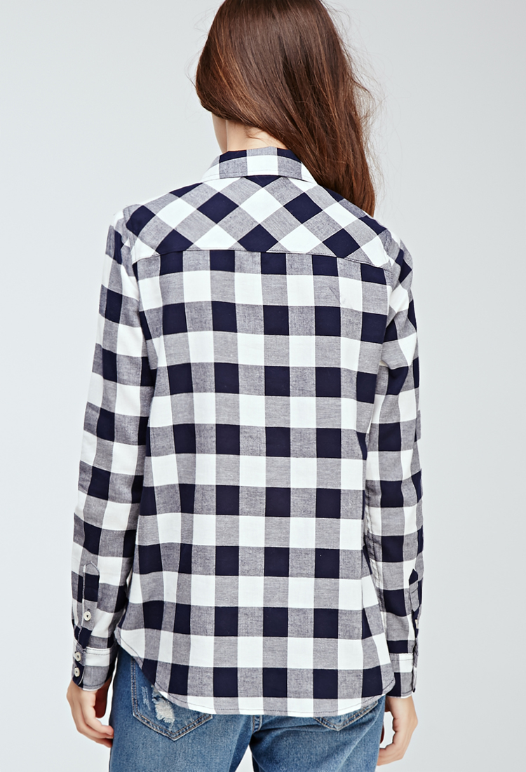 Forever 21 Gingham Button Down Shirt In Blue Lyst