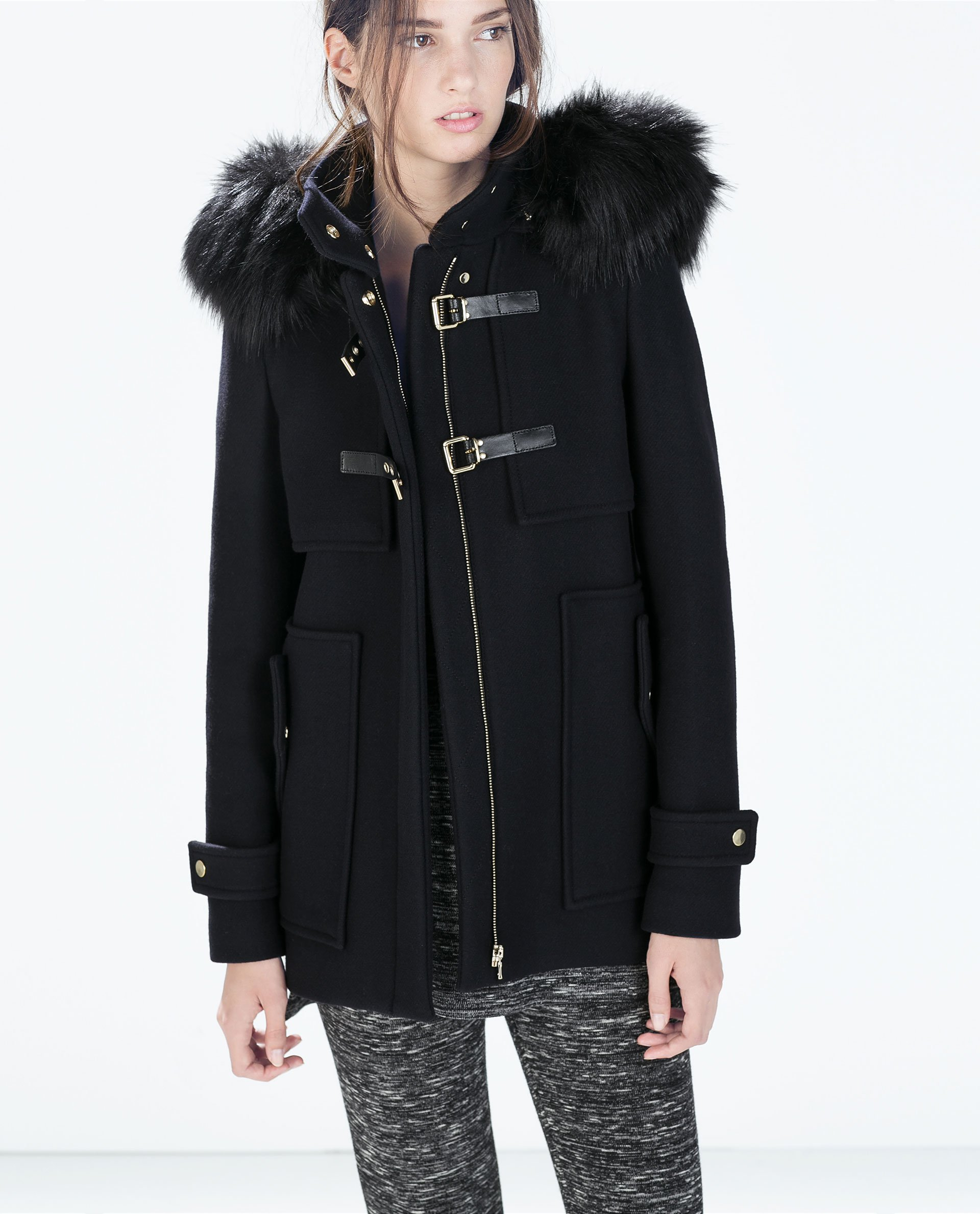 Zara Wool Duffle Coat with Faux Fur Hood in Blue | Lyst