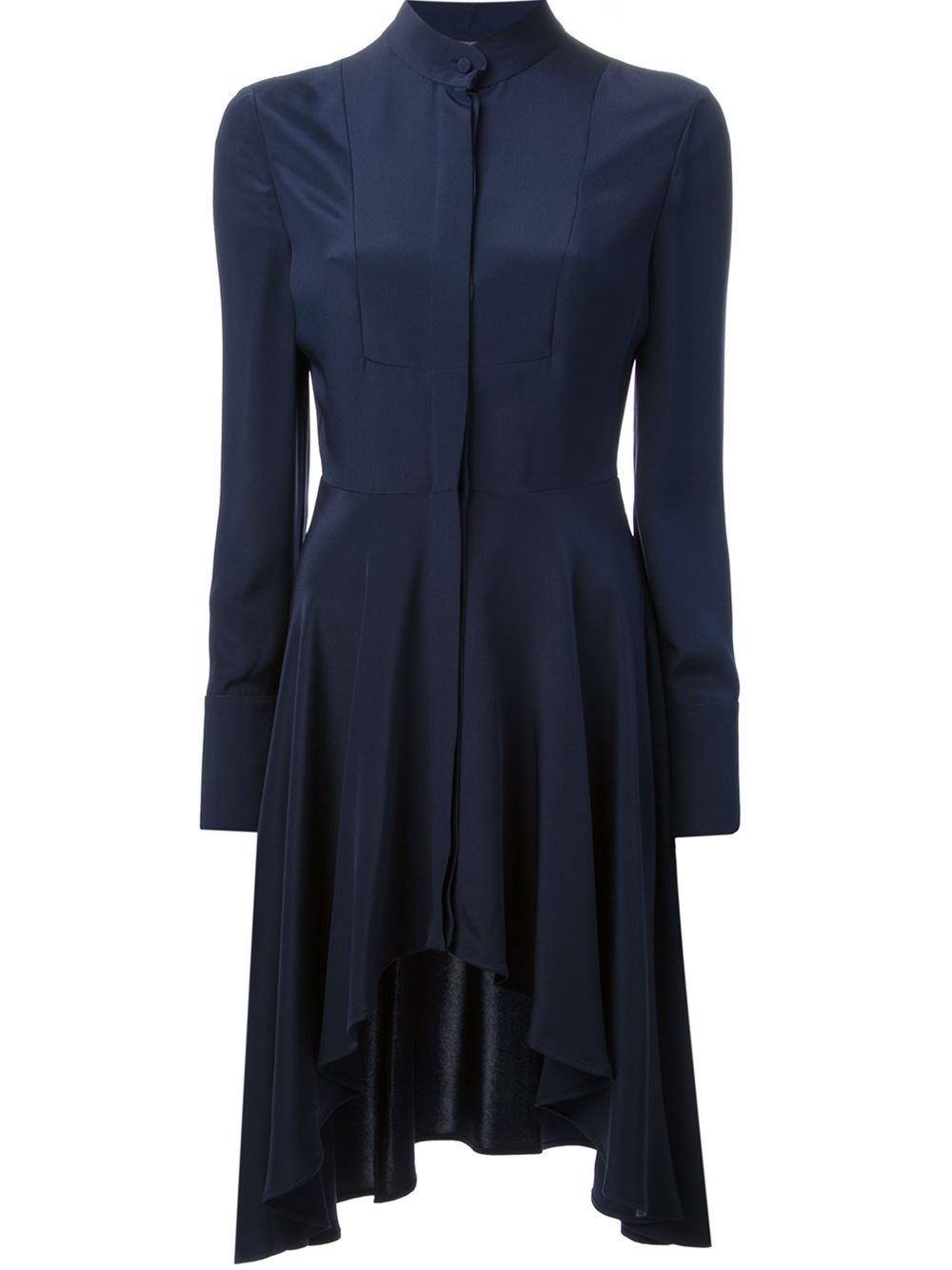 Lyst alexander mcqueen waterfall hem dress in blue for Waterfall design dress